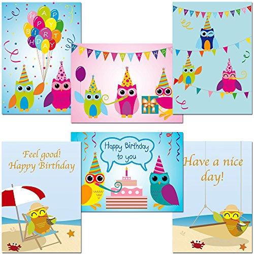 12 Postkarten - Mix Eulen Geburtstagskarten - Happy Birthday - Have a nice day
