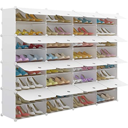Kousi Portable Shoe Rack Organizer 32 Grids Tower Shelf Storage Cabinet Stand Expandable For Heels Boots Slippers White Home Kitchen