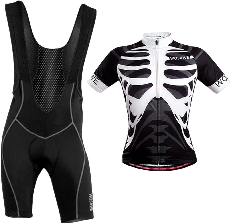 Simhoa Men Bike Bicycle Cycling Jersey Skeleton Shirt Top with Bib Shorts Set Clothing