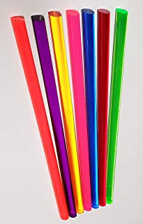 "7 Different Color Clear Acrylic Plexiglass Plastic Rods 1/2"" Diameter x 11 1/4"