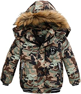 5ef3cefd5 Kehen Kids Toddler Boy Girl Winter Fur Hooded Trench Coat Warm Down Jacket  Thick Outerwear
