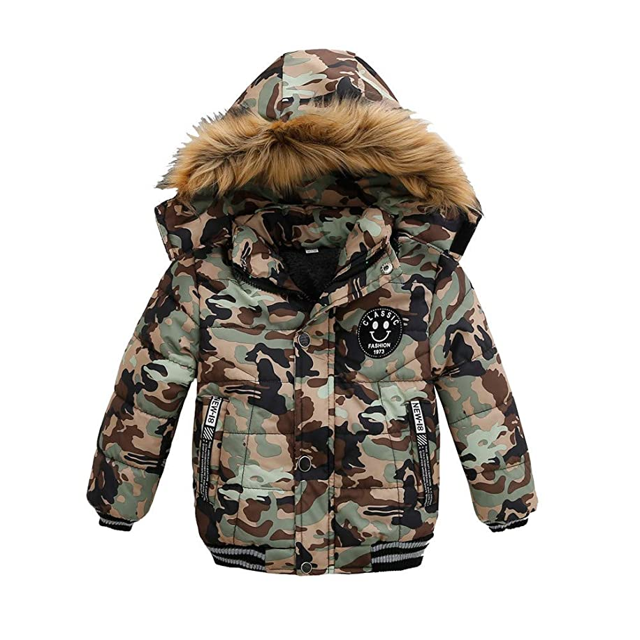 Lurryly?Unisex Jackets,Boys Girls' Winter Children Camouflage Outwear Fall Warm Coats Hooded for 1-5 T