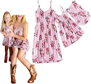 Mommy and Me Leaf Print Sleeveless Vintage Dresses Family Matching Spaghetti Straps Party Beach Maxi Cami Dress