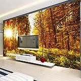 Hhkkck3D壁紙現代の黄金の日光の美しい秋のカエデの森の写真の壁の壁画のリビングルームの寝室の風景の壁画の壁紙-160X120Cm