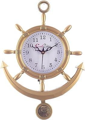 eCraftIndia Plastic Decorative Retro Pendulum Wall Clock (24.13 cm x 2.54 cm x 33.01 cm, Golden)