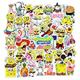 Labeol 100 Pcs Cartoon Spongebob Stickers for Water Bottles Motorcycle Notebook Laptop Luggage Bicycle Skateboard