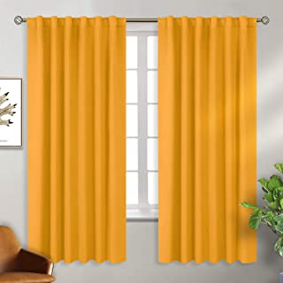 BGment Rod Pocket and Back Tab Blackout Curtains for Bedroom - Thermal Insulated Room Darkening Curtains for Living Room, 2 Window Curtain Panels (52 x 72 Inch, Mustard Yellow)