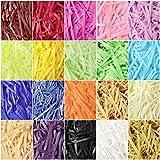 20 Bolsas de Papel de Relleno de Corte Arrugado Hebras Multicolores Papel Triturado de Rafia de Seda Confeti Triturado Multicolor para Relleno de Canasta Envoltura Boda