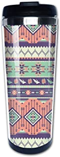 Yuanmeiju Aztec Rose Blooms Birds Geometric Arrow Tazas de café Botella de agua de acero inoxidable Taza de viaje Taza de café para mujeres hombres niños adolescentes adultos Hogar al aire libre