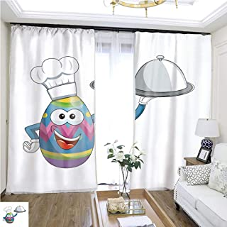 Children Curtain Decorated Mascot Easter Egg Cook hat and Silver Tray Isolated W72 x L77 Flowers in The Curtain Highprecision Curtains for bedrooms Living Rooms Kitchens etc.