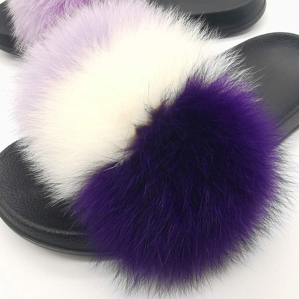 Xunxun Women Real Fox Fur Feather Vegan Leather Open Toe Single Strap Slip On Sandals
