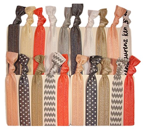 Hair Ties Ponytail Holders - 20 Pack'Silver Peach Chevron' No Crease Ouchless Elastic Styling Accessories Pony Tail Holder Ribbon Bands - By Kenz Laurenz