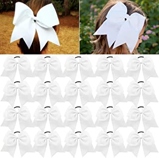 Large Cheer Bows White Ponytail Holder Girls Elastic Hair Ties 8
