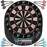 Physionics® Elektronische Dartscheibe - viele Spiele, mehr als 100 Spielvarianten, 12 Dartpfeile, 100 Ersatzspitzen, Netzteil, bis 16 Spieler, 3 Modelle - LED Anzeige Dartboard, Dartautomat, Dartspiel, Darts