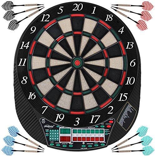 Elektronische Dartscheibe - viele Spiele, mehr als 100 Spielvarianten, 12 Dartpfeile, 100 Ersatzspitzen, Netzteil, bis 16 Spieler, 3 Modelle - LED Anzeige Dartboard, Dartautomat, Dartspiel, Darts
