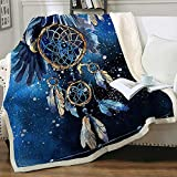 Dream Catcher Fleece Blanket Blue Galaxy Sherpa Blanket Celestial Cosmic Sparkling Throw Manta para sofá Sofá Be (Throw)