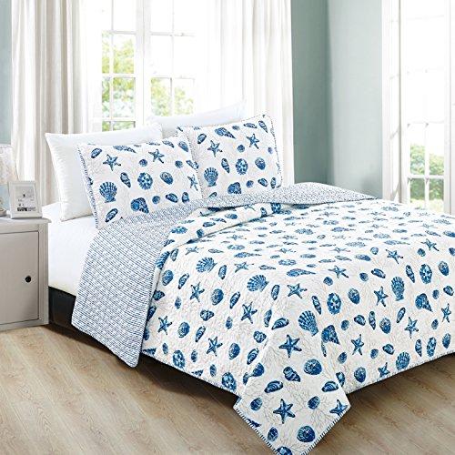Great Bay Home 3-teiliges Bettwäsche-Set mit Kissenbezügen für alle Jahreszeiten, weiche Mikrofaser, wendbare Tagesdecke & Überzug, Bali-Kollektion, Kingsize, Blau