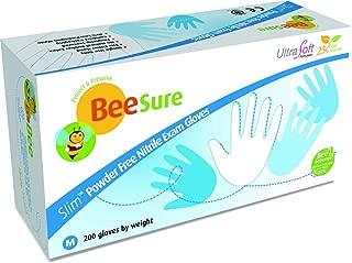 Beesure BE1128 Series BE1120 Slim Nitrile Powder Free Exam Glove, Ultra Soft, Latex Free, Large, Light Blue (10 Box of 200) (Pack of 2000)
