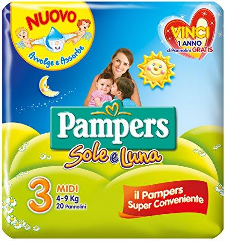 Pampers Sole e Luna Pannolini Midi Taglia 3 (4-9 kg), 20 unidades