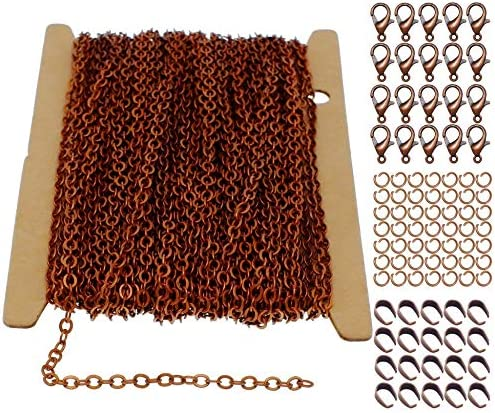 ZCNest 32 8 Ft 10m Copper Chains for Jewelry Making Set with Lobster Clasps Jump Rings Pinch product image