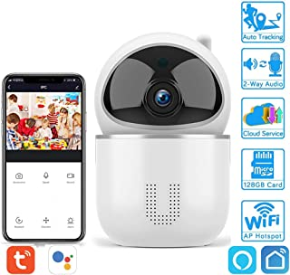 Cámara IP Tuya cámara IP WLAN 1080P HD WLAN Cámara WiFi con Monitor de bebé Giratorio 360 ° Audio bidireccional/detección de Movimiento/visión Nocturna Compatible con Alexa/Google Assistant