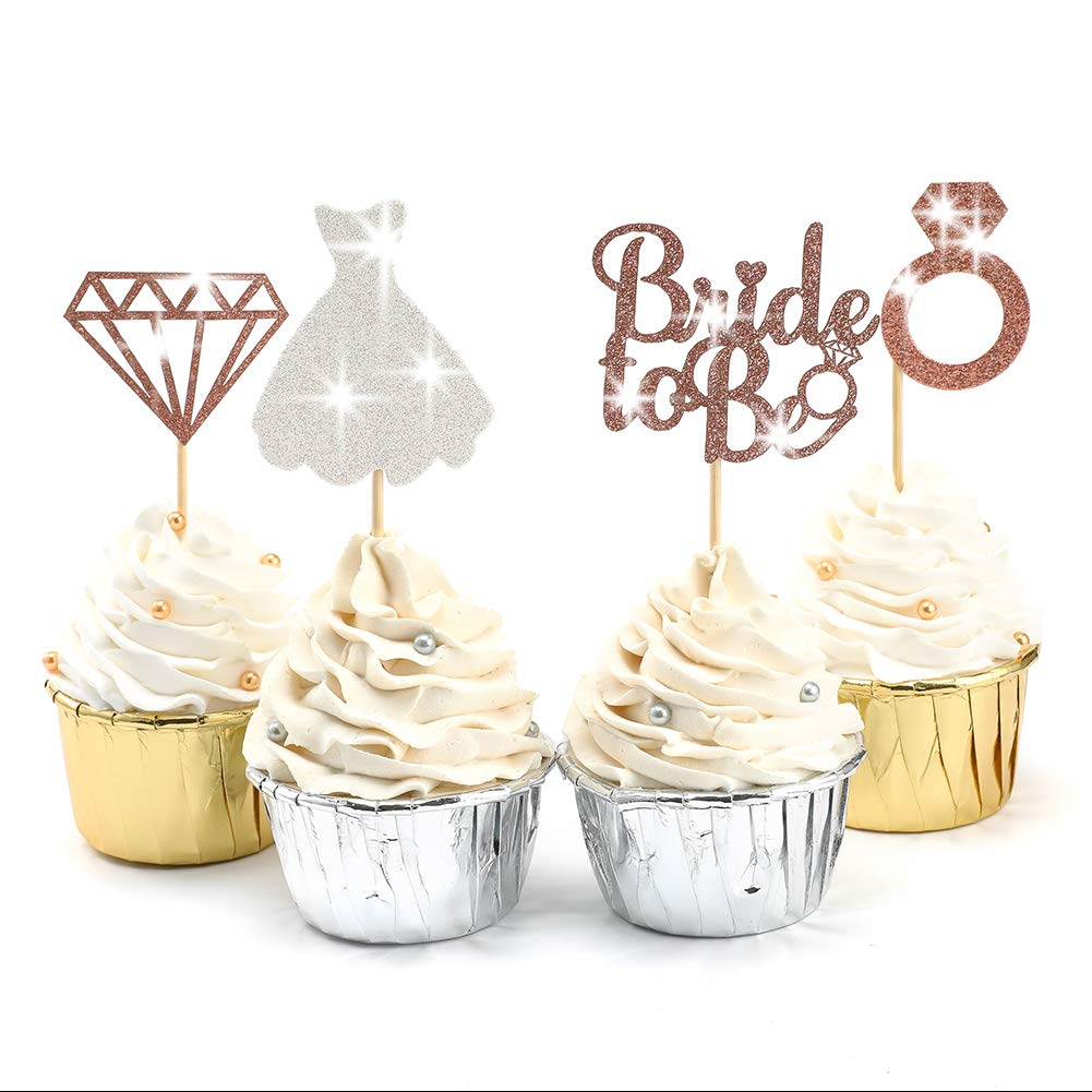 SUYEPER 24 shop Pcs Rose Gold Glitter Max 45% OFF Bride to be Pic Toppers Cupcake