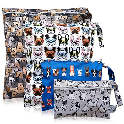 FLOCK THREE 4pcs Waterproof Wet Bag Reusable for Wet Clothes Baby Diapers Stroller Swimsuit Travel Reusable toiletries Pouch Small and Larger Electronics case 4 Pack (Cute Dog)