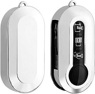 LFOTPP FIAT 500 500L Schlüssel Hülle, TPU Silikon Autoschlüssel, Schlüsselhülle Schutzhülle Zubehör (Silber)