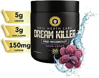 Phil Heath Labs All Natural Dream Killer™ Supplement   Preworkout Energy Drink for Pump Focus with Stamina - Teacrine Creatine Beta Alanine Caffeine   20 Servings   Sour Grape