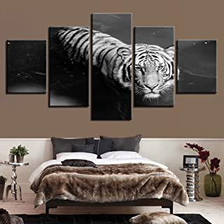 MMLZLZ 5 Canvas Paintings Wall Art Canvas Modern HD Printed Pictures 5 Pieces Animal White Tiger Swimming Painting Poster Home Decor Living Room