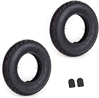 Set of 2 3.50-8 Tire & Inner Tube with TR87 Bent Angled Valve Stem Replacement for Inflatable Pneumatic Wheelbarrow cart g...