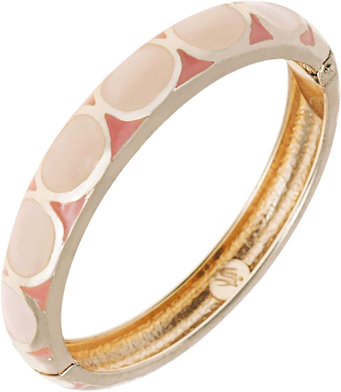 UJOY Colorful Geometric Bangles Handcraft Cloisonne Enamel Jewelry Golden Spring Cuff Bracelet Gift for Women 55A66