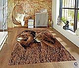 "Portrait of Huge Beautiful Lion African Area Rug Carpet for Living Room Bedroom (5' 3"" X 7' 5"")"