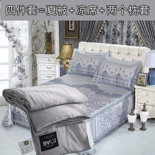 sommerdecke frottee,Etagenbett Rock Eis Seidenmatte drei oder vier Sätze von 1,8 m Bett Tencel Summer Cool ist rutschfest und maschinenwaschbar 1,5 m-Andilla vierteiliger Anzug_1,8 m (6 Fuß) Bett