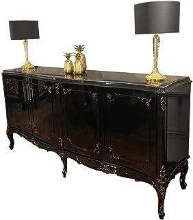 Casa Padrino aparador Barroco Negro/Oro Antiguo 226 x 57 x A. 103 cm - Mueble de salón Noble con 4 Puertas y Tapa de Vidri...