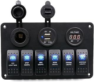 Meipire LED Switch Panel Wippschalter Druckschalter DC 12V / 24V Kippschalter 6 Gang mit Zigarettenanzünder +3.1A Dual USB Ladegerät + Digital Voltmeter 5 30V für Auto, Boot, LKW, RV, Wohnwagen