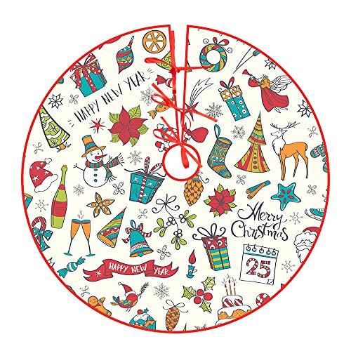 Yakuin Christbaumdecke Beige Weihnachtsbaumdecke Rund(122cm) Baumdecke Weihnachtsbaum Christbaum Unterlage Weihnachtsbaumrock Tannenbaum Dekoration Feiertagsdekoration für Weihnachten, Urlaub, Party