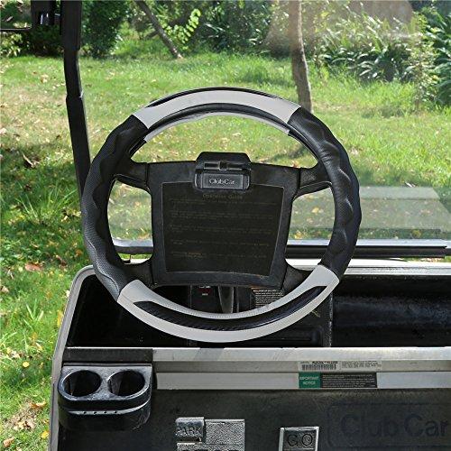 WORLD 9.99 MALL Pu Leather Microfiber Anti Slip Steering Wheel Cover for All Club Car Golf Cart - Black Gray