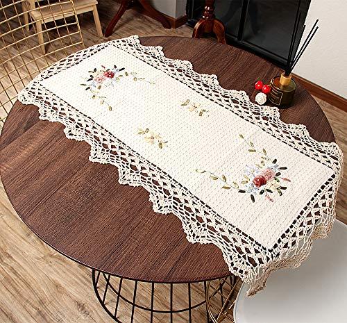 Vanyear - Tapetes de ganchillo hechos a mano de algodón de encaje para mesa de comedor, 43 x 89 cm