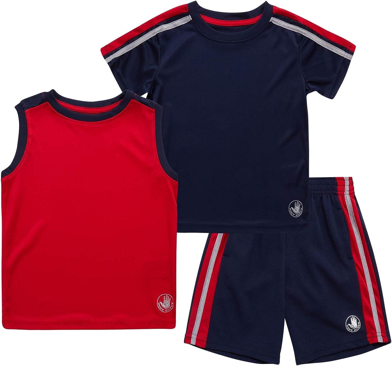 Body Glove Baby Boys Shorts Set – 3 Piece T-Shirt, Tank Top, and Shorts Playwear Set (Toddler)