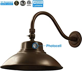 14in. Brown LED Gooseneck Barn Light 42W 4200lm Daylight LED Fixture for Indoor/Outdoor Use - Photocell Included - Swivel Head,Energy Star Rated - ETL Listed - Sign Lighting - 5000K Daylight 1pk