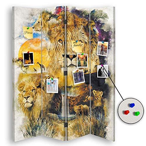 carowall CAROWALL.COM Paravent Pinnwand Afrika beidseitig für Schlafzimmer Gelb 145x175 cm