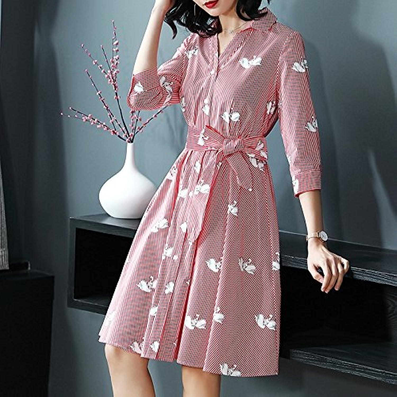 Xuanytp Beach Skirt Dress Casual Lapel Slim Thin Shirt Skirt Suit Dress Belt