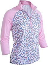 Monterey Club Ladies Dry Swing Fun Leopard Colorblock 3/4 Sleeve Polo Shirt #2352