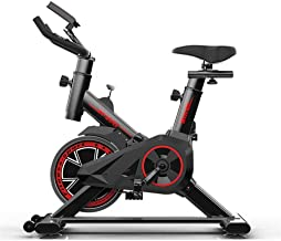LSYOA Indoor Cycling Bike Exercise Bike, Upright Belt Drive Fitness Bike with LCD Display Flywheel Adjustable Seat Bike,Red