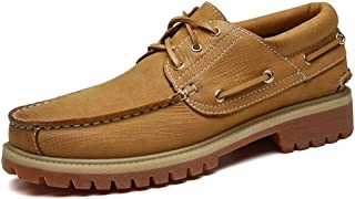 HUAHs0 Oxford for Men Boat Shoes Lace up Genuine Leather Round Toe Rubber Sole Stitched Split Joint Textured Burnished Style Anti Slip` (Color : Yellow, Size : 39 EU)