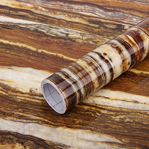 GLOW4U Papier peint autocollant en vinyle effet marbre brillant effet granit pour comptoir de cuisine ou salle de bain (60 cm x 3 m)