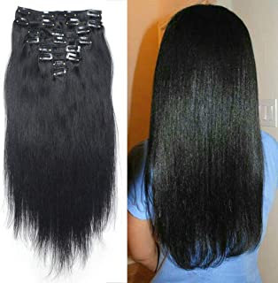 Luwigs #1 Jet Black Human Hair Clip in Extensions for Women 14 inches 120g Full Head Silky Straight Remy Hair Clip Ins 8Pcs/Set