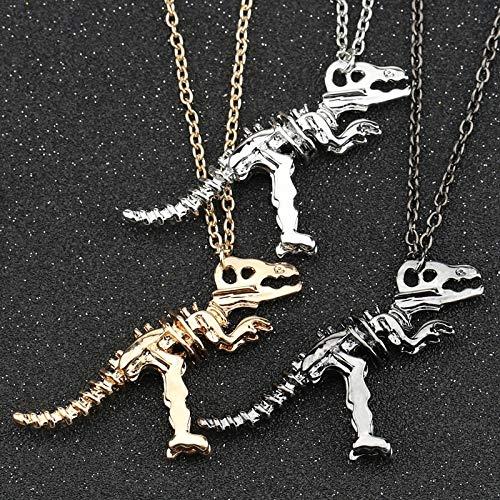 YUNMENG 3 uds Collar de Dinosaurio Tyrannosaurus Rex Esqueleto Oro Negro Pistola Color Plata Colgante Moda Punk gótico joyería Hombres Mujeres