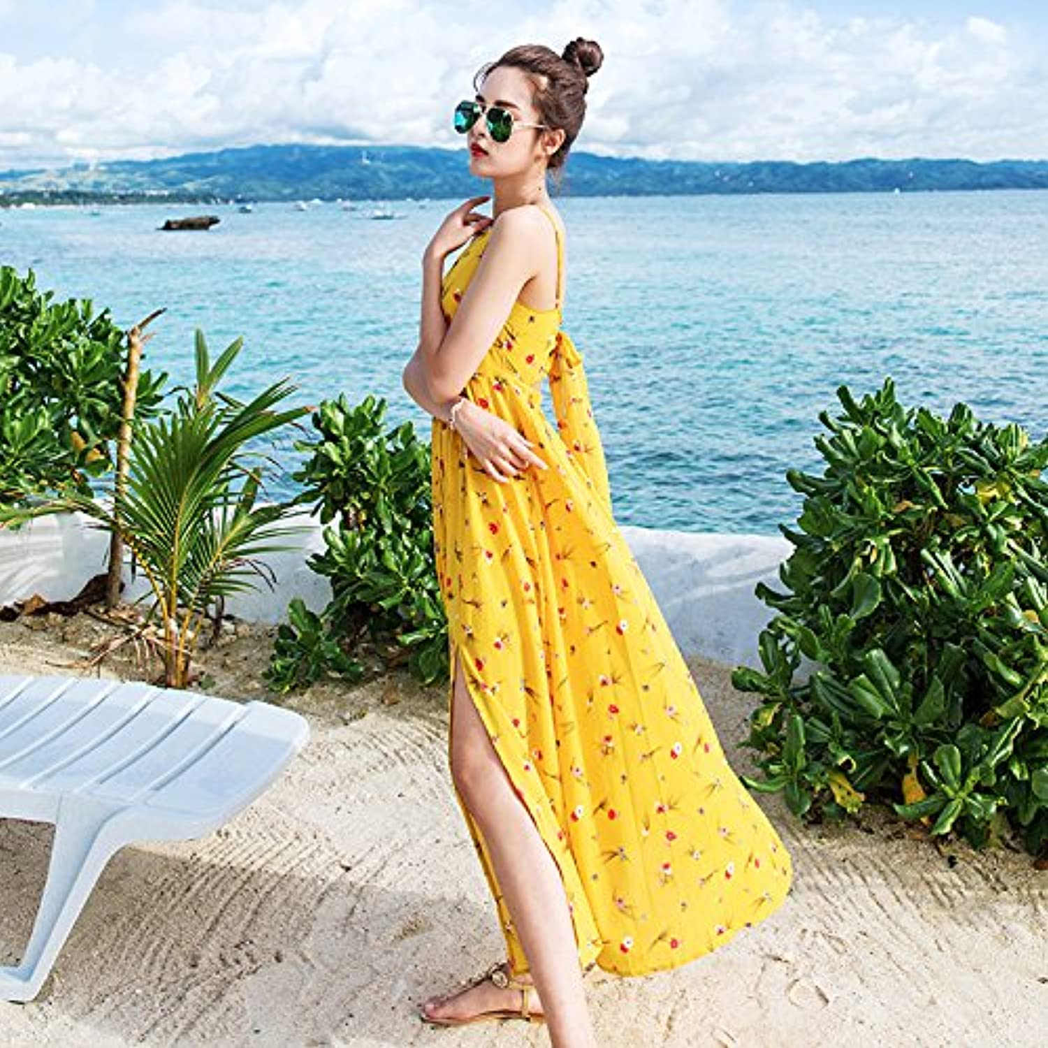 XIURONG Sling Dress Long Skirt Seaside Holiday Beach Skirt